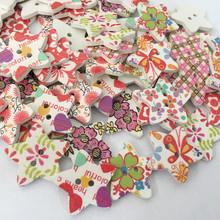 批发供应木制五角形彩绘木纽扣 木扣子 服装辅料 混款式