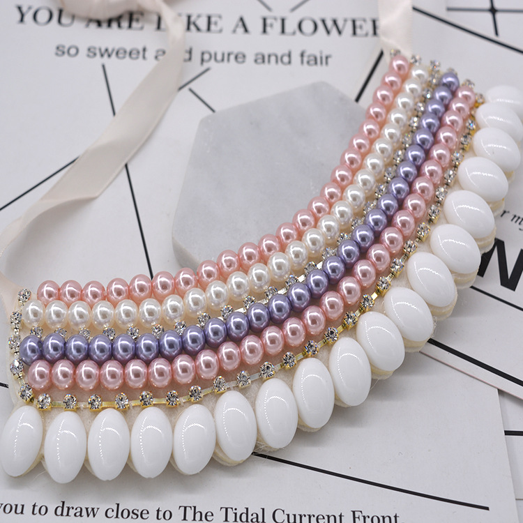 Other Alloy Diamond necklace Flowers (white)NHNT0058