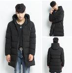 秋冬新款男士运动休闲棉衣中长款纯色棉袄加厚带帽保暖时尚厂家直