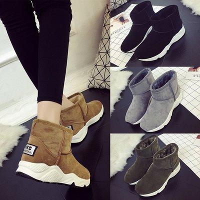 冬季新款明星同款SW短靴女 平跟运动底雪地靴棉质保暖鞋一件代发