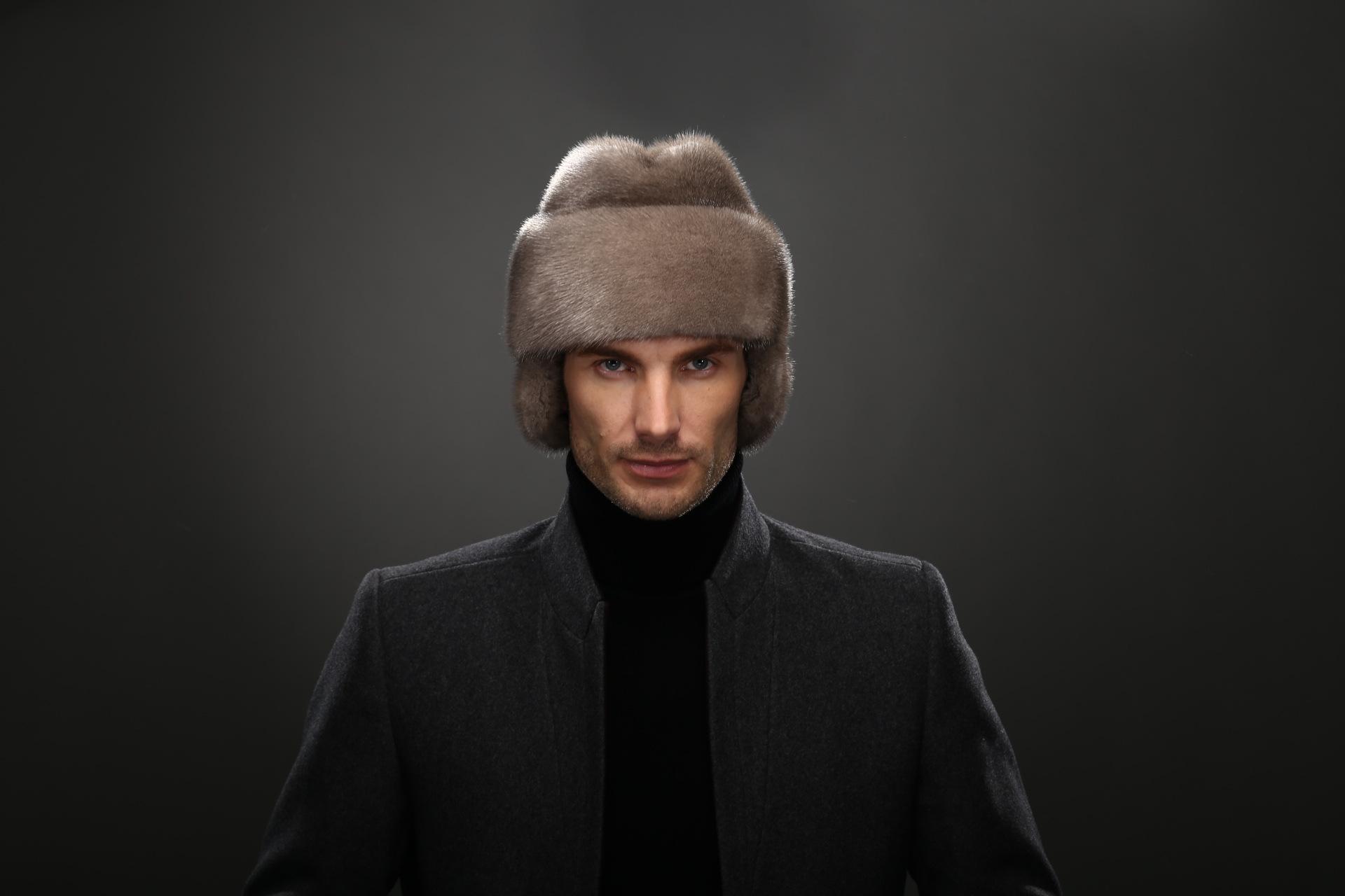 Hiver d/'âge moyen//old men 100/% réel Véritable Vison Fourrure Chapeau Bonnet Hiver Chaud Cadeau
