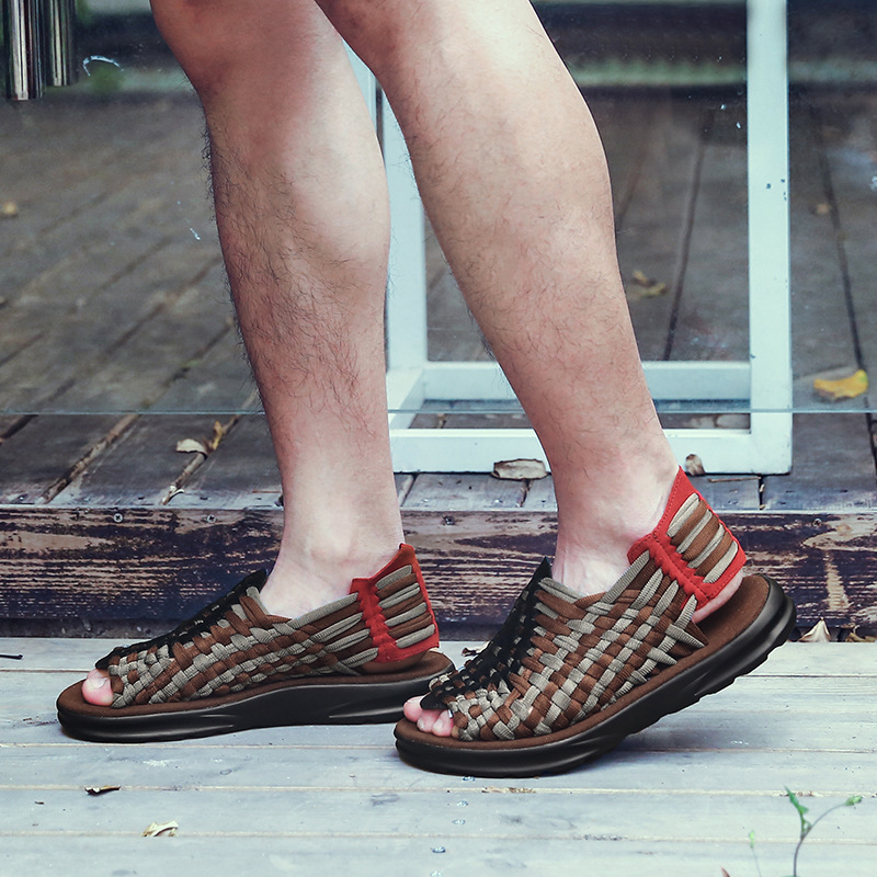ស្បែកជើងនារី Men Casual Sandals Hand Woven Slippers Shoes PZ165426