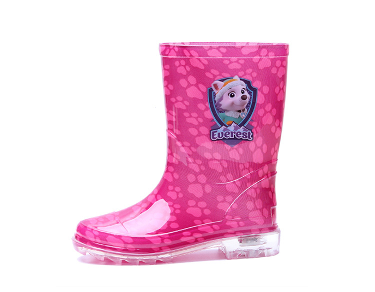 BAILI KP01 Kids PVC Rain Boots - Lilac / Pink Red for Goys / Girls, Transparent Design 10