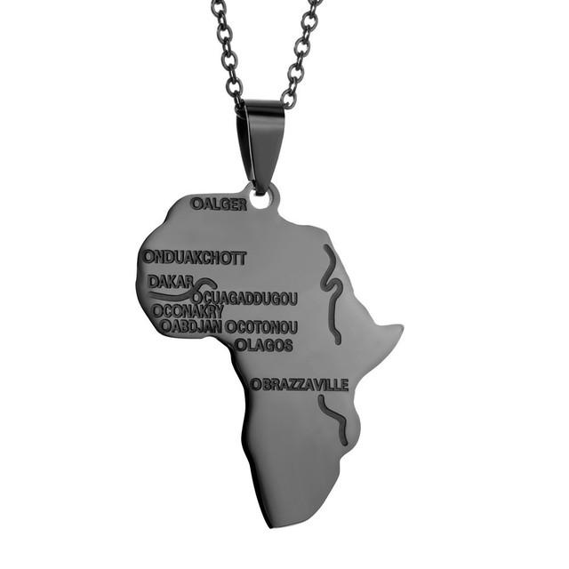 热销金色非洲地图嘻哈吊坠项链不锈钢饰品批发 配链条