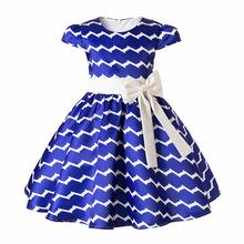 mitun新款童装女童连衣裙时尚条纹中小童儿童欧美风蓬蓬连衣裙