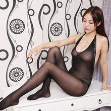 夏季性感連體襪網衣女性情趣內衣極度誘惑開襠鏤空超薄透明褲12