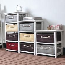 欧式家具欧式风格时尚实木储物收纳柜现货藤编抽屉式收纳柜