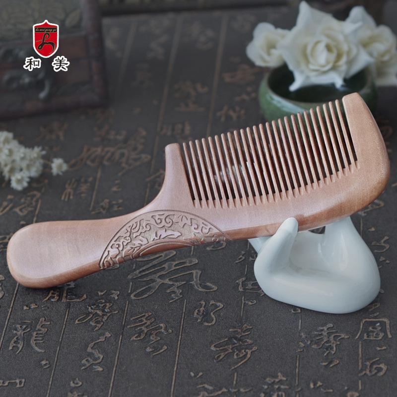 厂家直销精品老桃木梳直发梳子 新款双面雕花木梳手柄款一件代销
