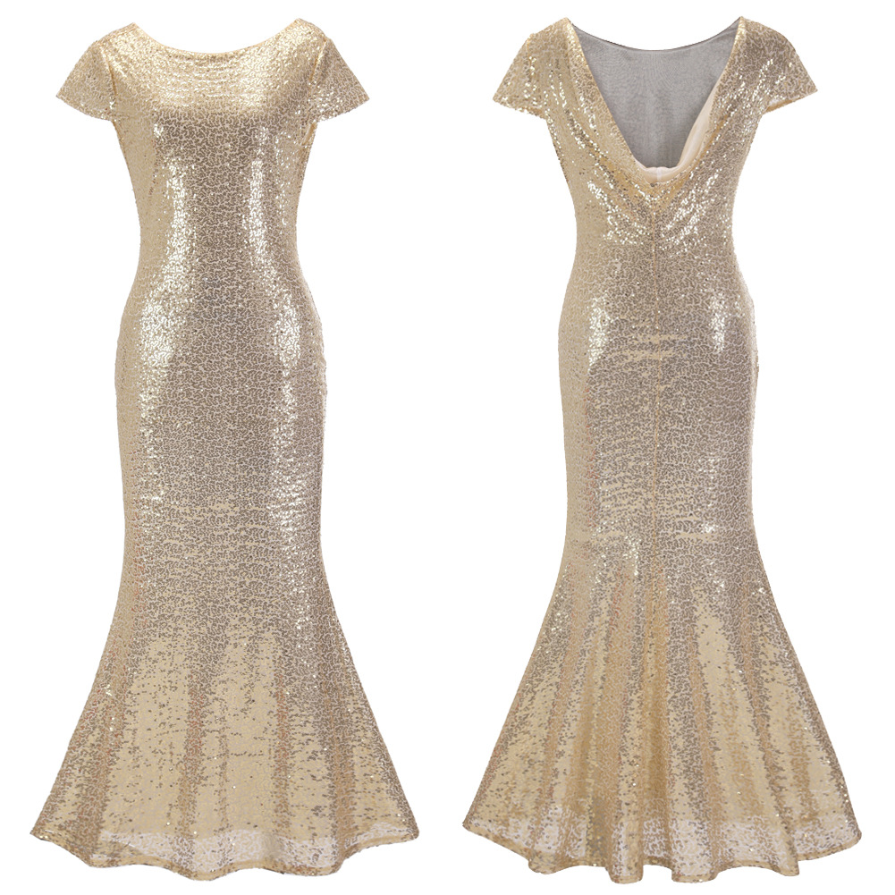 New women fashion sequin long dress sexy for cocktail for Dresses for afternoon wedding