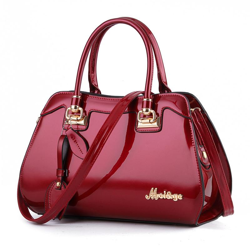 2020新款女包时尚手提包包亮皮单肩包斜挎包中年女士妈妈大包