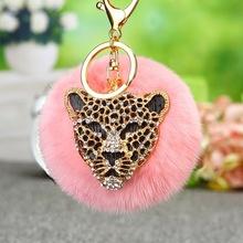 水鉆豹子頭毛絨汽車鑰匙扣女韓國可愛創意包包掛件鑰匙鏈圈掛飾品