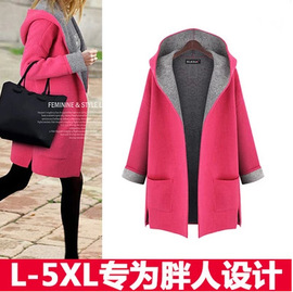Woolen coat medium and long candy color large size loose thin cardigan European and American fat mm woolen windbreaker