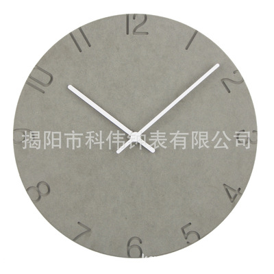 时尚北欧简约木质挂钟客厅圆形木钟进口多彩板创意时钟 厂家直销