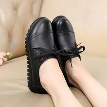 新款牛皮妈妈鞋中老年圆头平底鞋软底女单鞋厂家直销批发货源稳定
