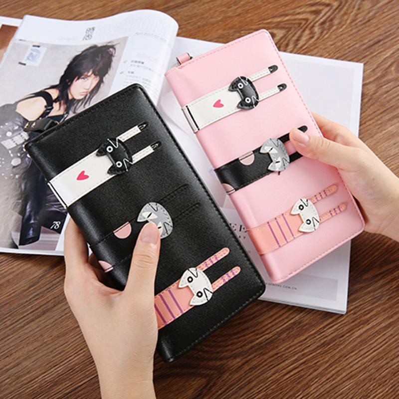 中长款女式钱包 韩版卡通可爱3只猫咪拉链PU皮小零钱包 一件代