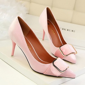 1025-5 han edition fashion professional OL shoes high heel with suede shallow mouth pointed metal belt buckle shoes