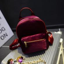 2016新款韩版时尚金丝绒双肩女包 百搭学院风休闲包单肩双肩包包