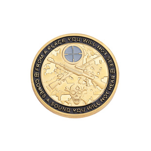 Manufacturer orders spot gold soldier sniper aiming embossed commemorative coin