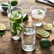 鸡尾酒威士忌玻璃杯 厚底玻璃水杯特色果汁饮料杯子 锤目纹杯
