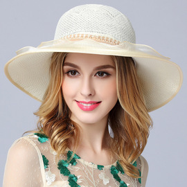 Spring and summer new sun hat outdoor beach travel cap ladies hat two pearl flower knit big hat