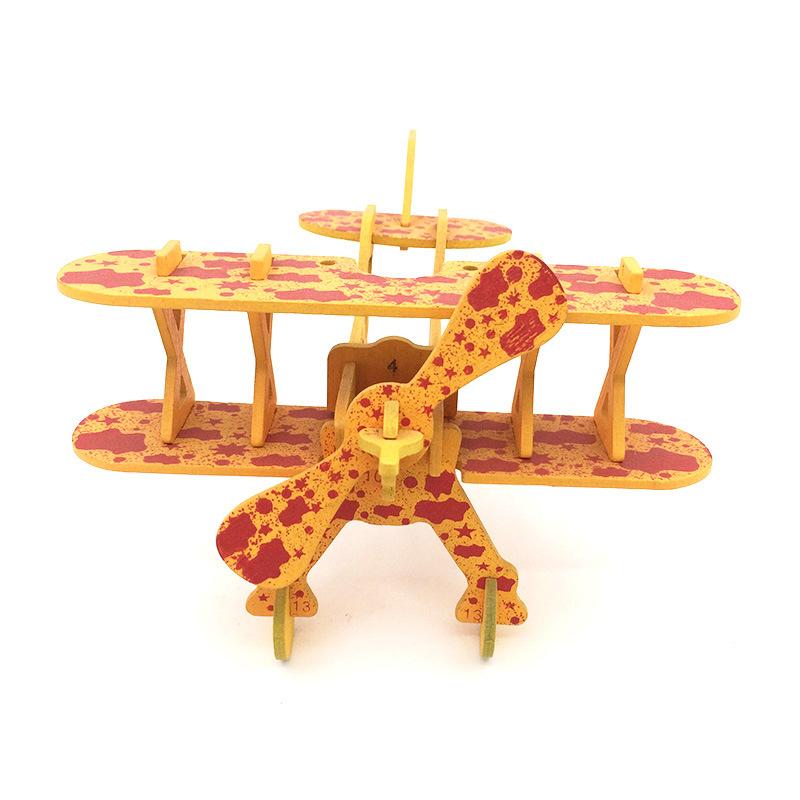 diy创意仿真模型 儿童木制双翼飞机立体拼图手工益智玩具批发定制