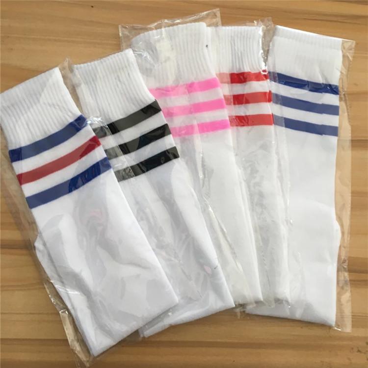 三条杠条纹运动袜足球袜学生袜中长筒袜幼儿园儿童成人无脚跟直筒