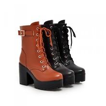 速卖通系带短靴马丁靴防水台粗跟高跟女靴大码40-43外贸厂家直销