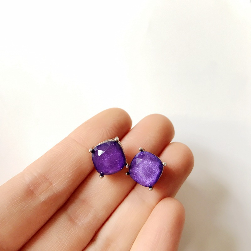Exquisite faceted resin gemstone earrings color earrings wholesale women NHOM190841