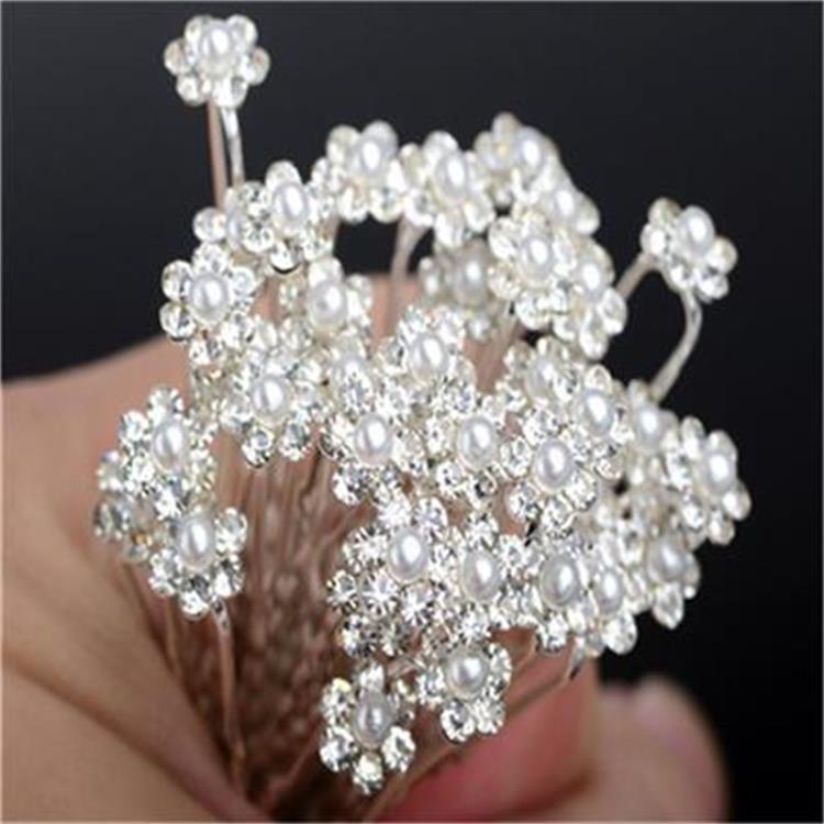 新款热卖合金珍珠U型发簪 新娘盘头发叉珍珠花镶钻发夹批发