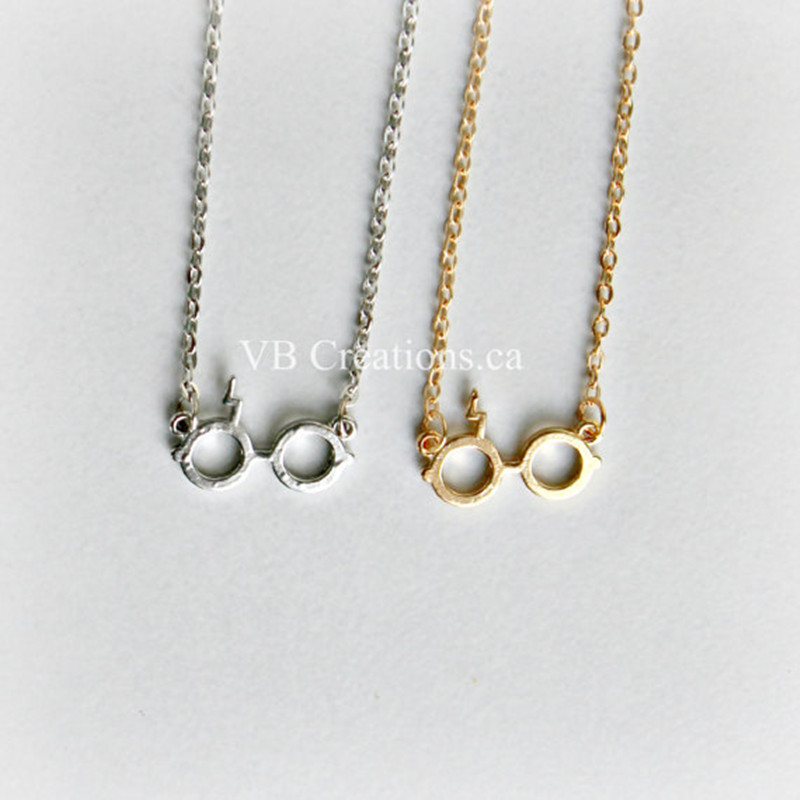 Harry Potter Glasses Necklace Deathly Hallows Pendant Necklace Gold Plated Silver Lightning Z Necklace NHCU206483