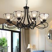 地中海风格吊灯 现代简约客厅卧室餐厅书房吊灯美式复古玻璃吊灯