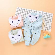 2018新品童裝寶寶春款開檔連身衣純棉圍嘴韓版寶寶爬服嬰幼兒服裝