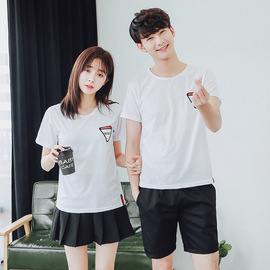 Summer's New couple's Round-necked short-sleeved T-shirt Fashion Men's printed Triangle T-shirt