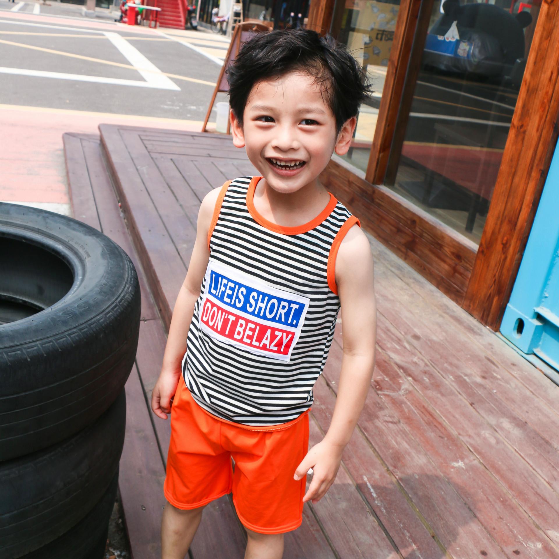 夏季男童纯棉无袖背心套装新款条纹印花宝宝休闲背心短裤两件套薄