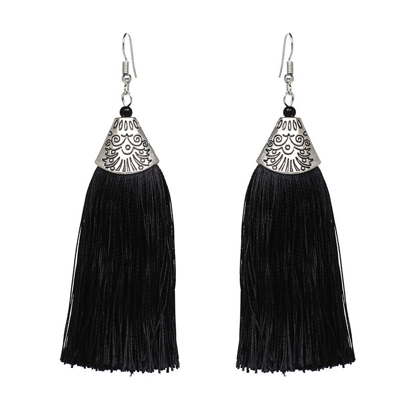 Womens Tassel Silk Earrings NHAS121055