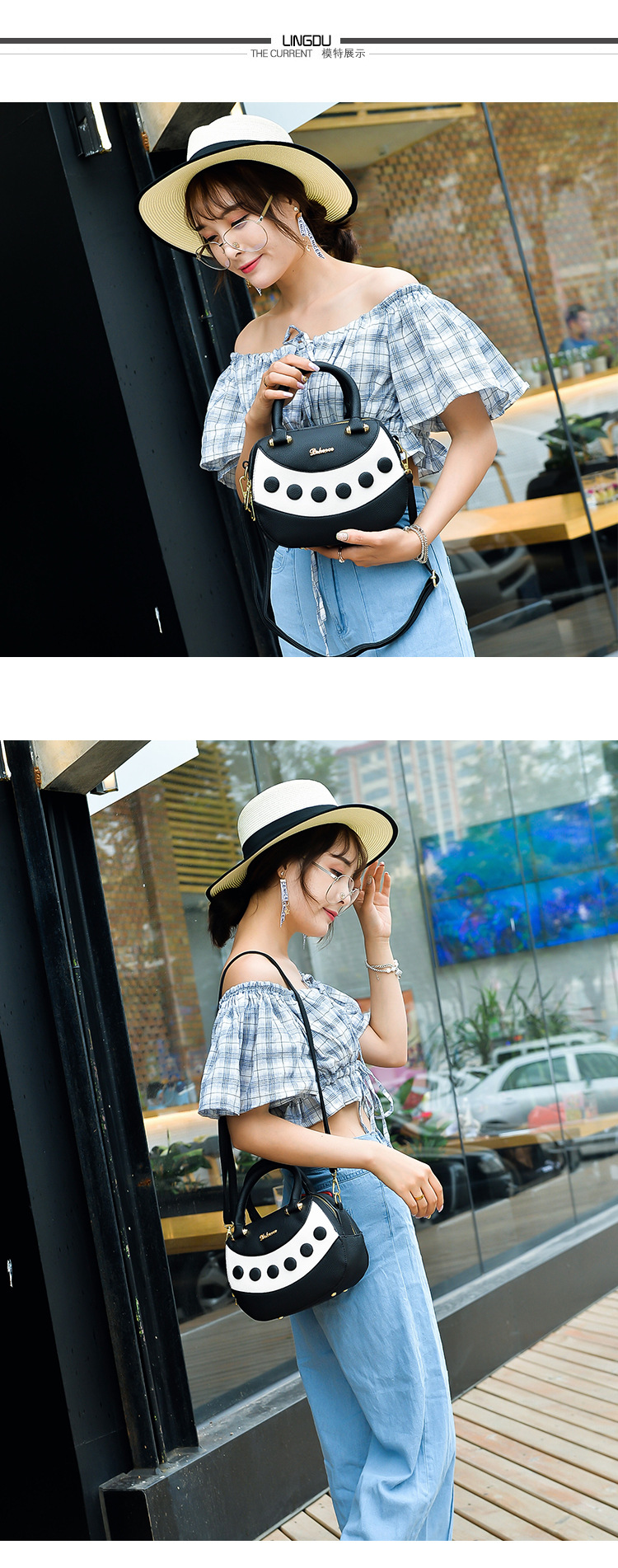 Korean version PUfashion bag (gray)NHPB0187-gray