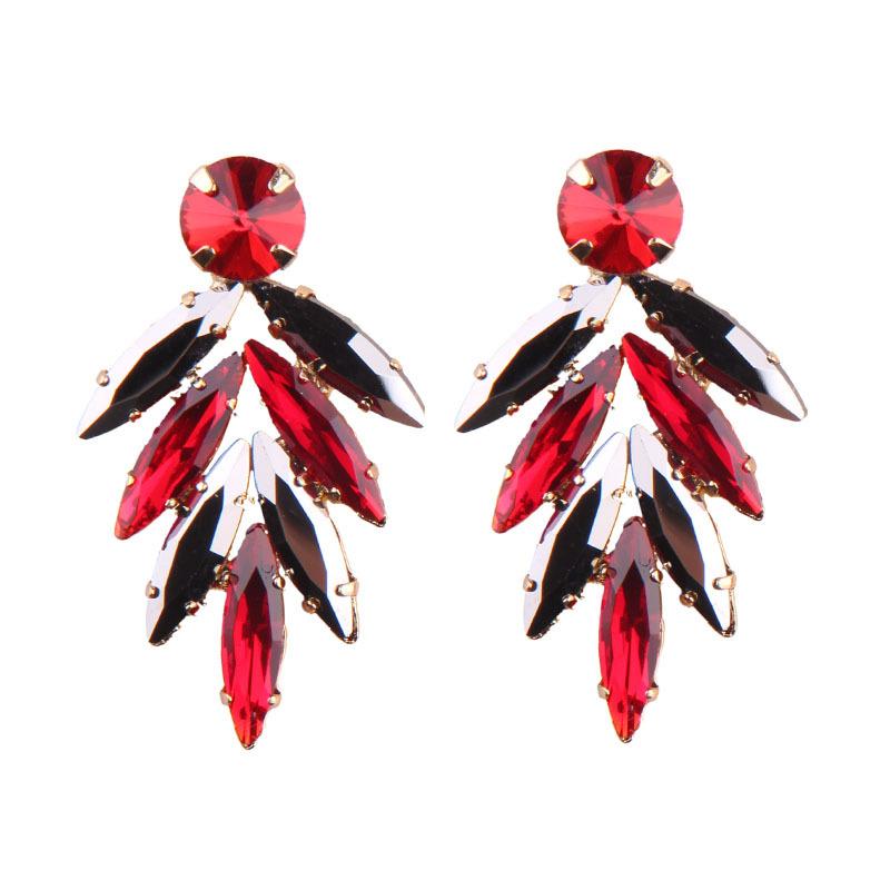 Alternative alloy Inlaid gemstones earring (Black and white)NHJQ9218-Black and white