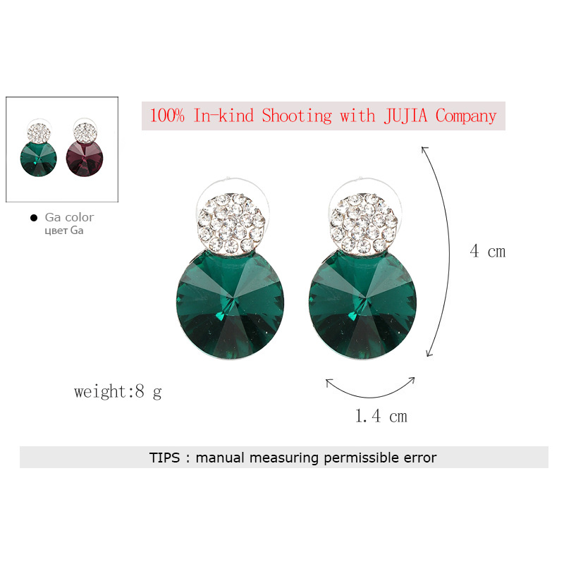 Fashion Imitated crystal&CZ  Earrings Geometric (green)  NHJJ3791-green