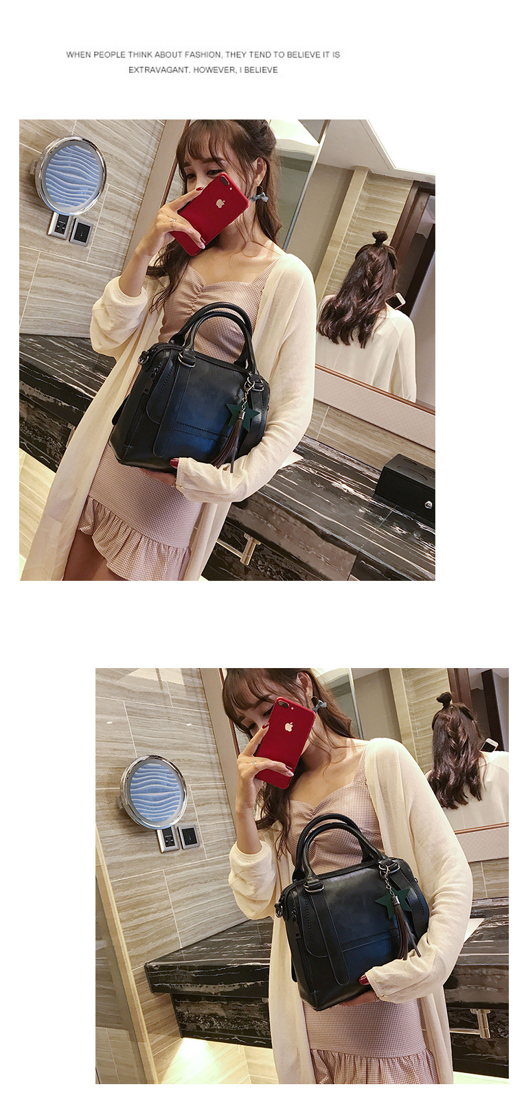 Korean version PUfashion bag (brown)NHPB0136-brown