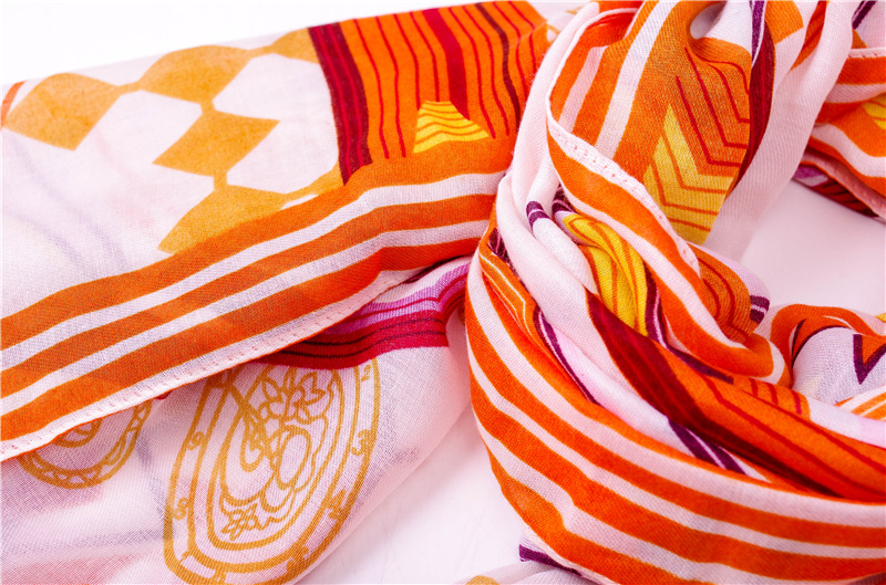 Summer new scarf female yellow geometric cotton and linen shawl scarf ethnic style holiday shawl NHGD199205