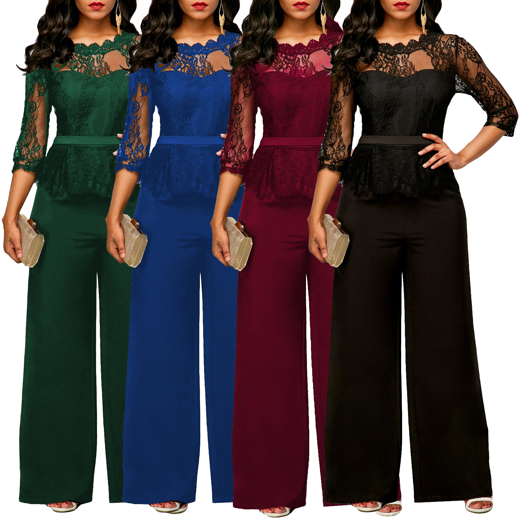 Summer 2020 new European and American women's foreign trade clothes Amazon Dunhuang express eBay sexy lace Jumpsuit