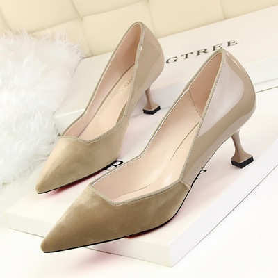 689-2 han edition fashion show thin and delicate and elegant shoes high heel with shallow hollow out pointed mouth color