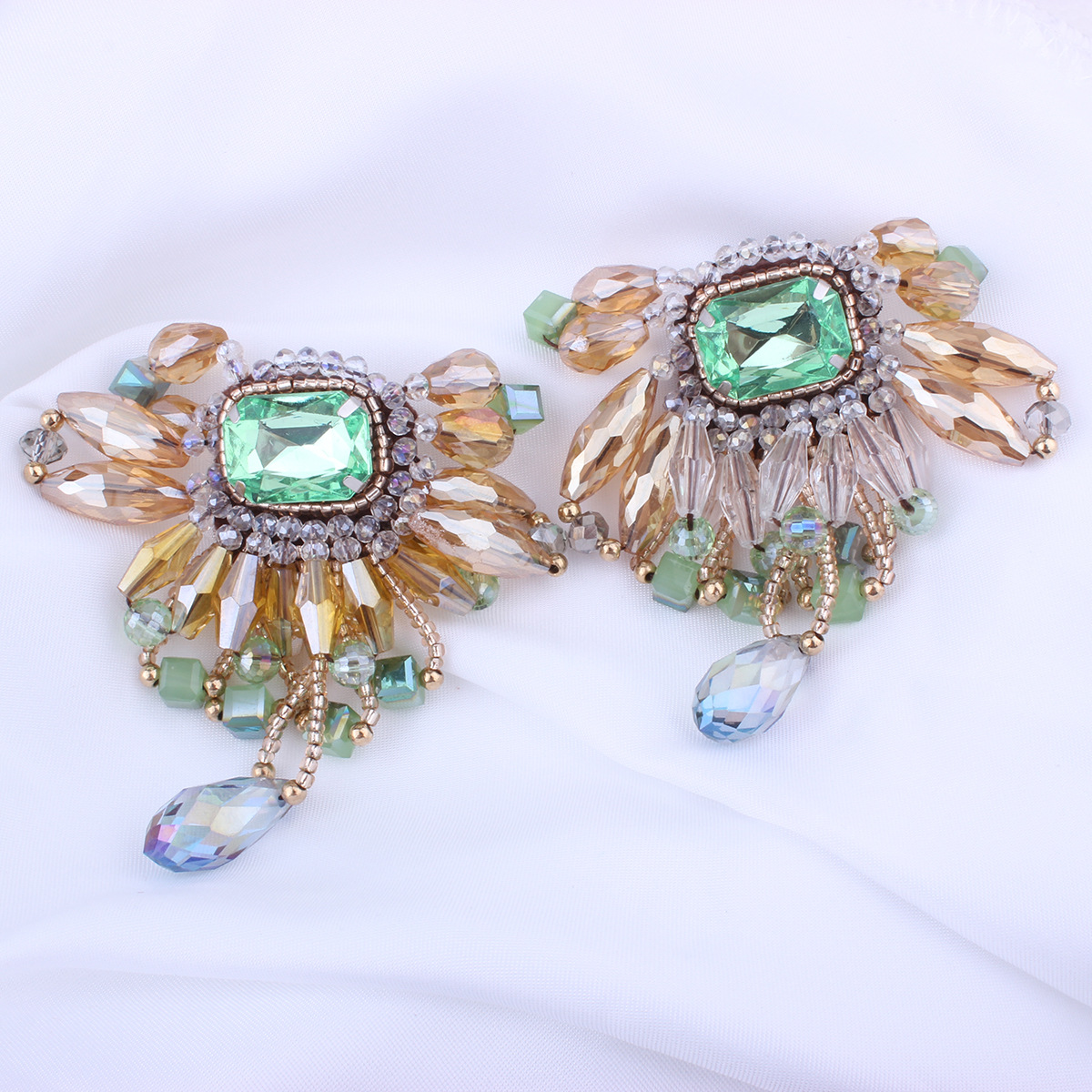 Retro alloy plating earring (Green yellow)NHNMD3811-Green yellow