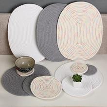 日式手工编织棉线绳加厚防烫隔热垫耐热餐桌垫杯垫碗垫子创意家居