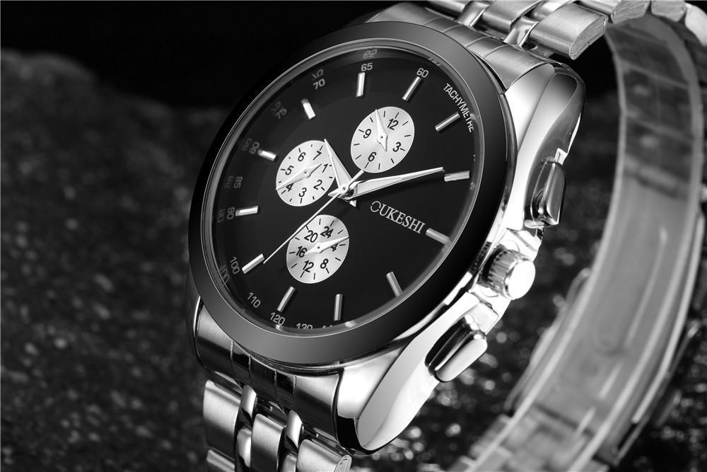 Korean version of the simple personality three-eye quartz stainless steel watch NHSY145988