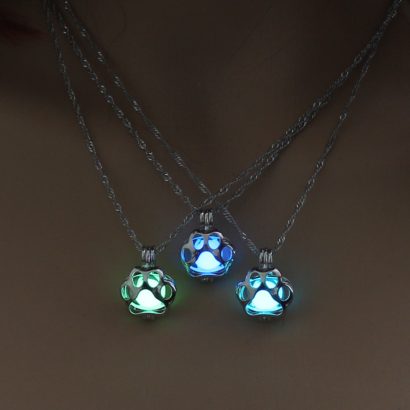 Hot sale luminous cage hollow cat claw pendant Halloween alloy necklace for women accessories NHAN241618