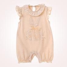 2018女童裝A類嬰兒服裝夏季無袖連體哈衣有機彩棉薄款連身衣爬服