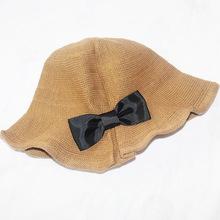 韩版棉麻蝴蝶结盆帽 户外太阳帽折叠渔夫帽子 女士防晒遮阳帽子女