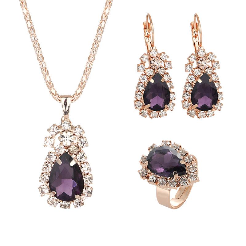 歐美新娘首飾項鏈套裝時尚奢華水晶寶石戒指項鏈耳環套裝女款飾品