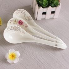 厂家直销 长柄陶瓷大汤勺骨瓷勺子多种花色
